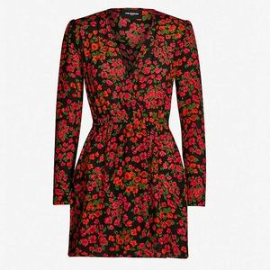 V-neck floral print silk dress The Kooples size 3